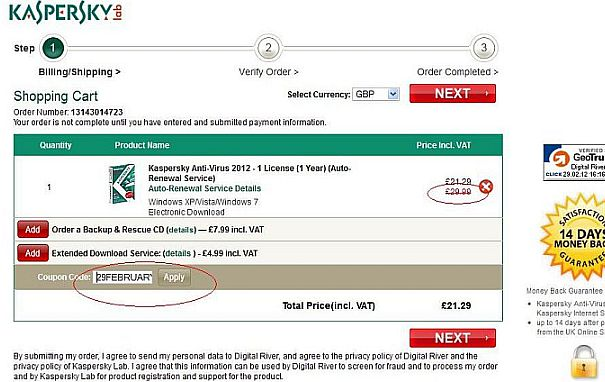 Kaspersky discount coupon