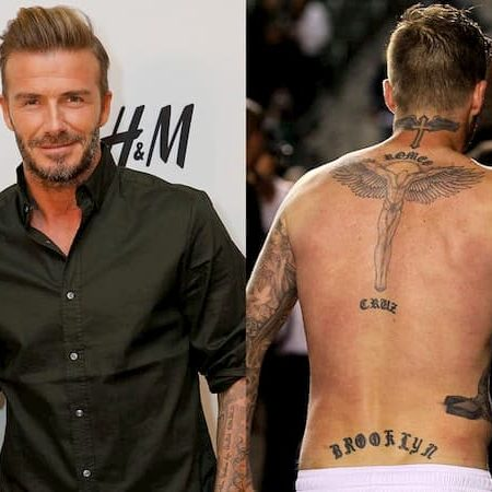 David Beckham 3 sons lower back tattoo