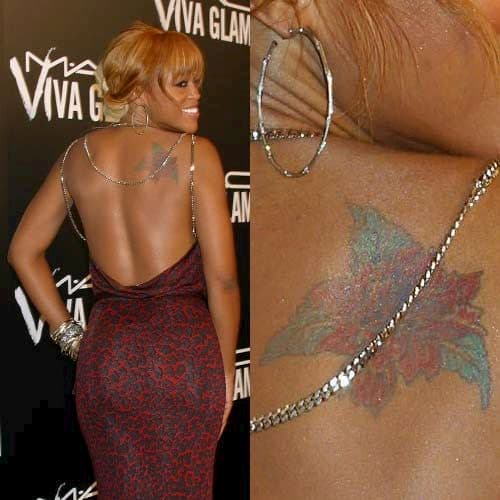 eve flower tattoo on back