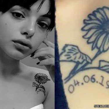 nia lovelis daisy shoulder tattoo