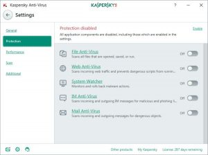 kaspersky antivirus settings