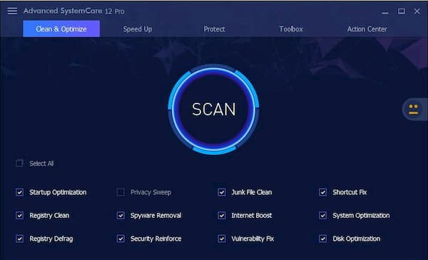 Advanced System Care PRO scan option