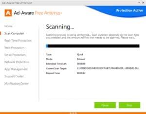 Ad-Aware Free Antivirus+ scanning